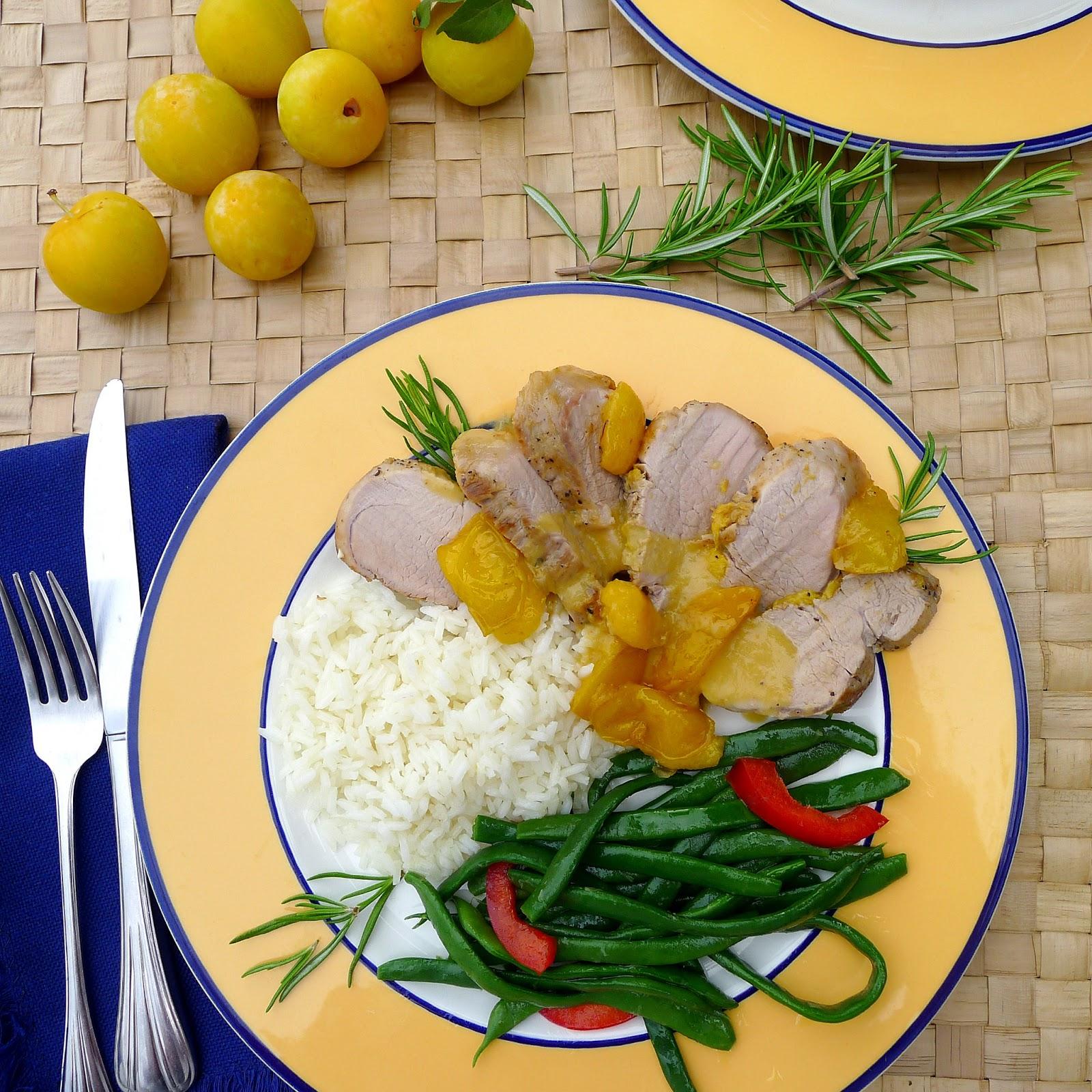 Plum sauce with rosemary complements pork tenderloin.