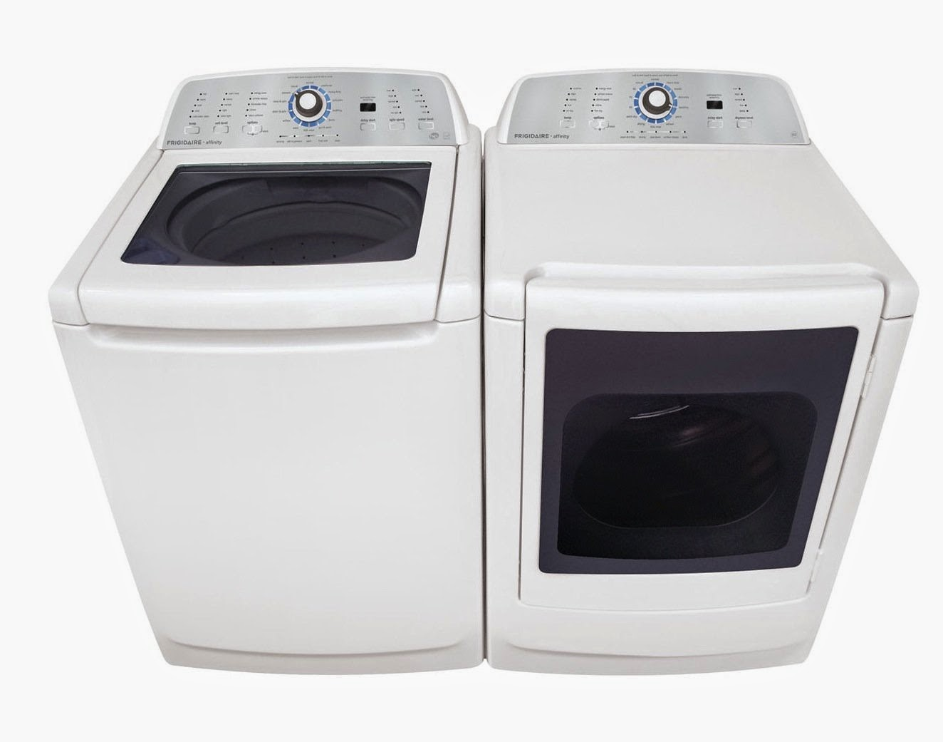 frigidaire topload white washer and dryer sets