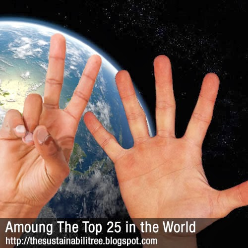 Two hands indicating the number twenty five in front of a picture of the planet