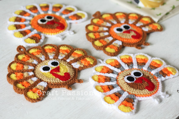 Gobble Coaster Free Crochet Pattern : Crochet For Free: Turkey Coasters or Ornaments