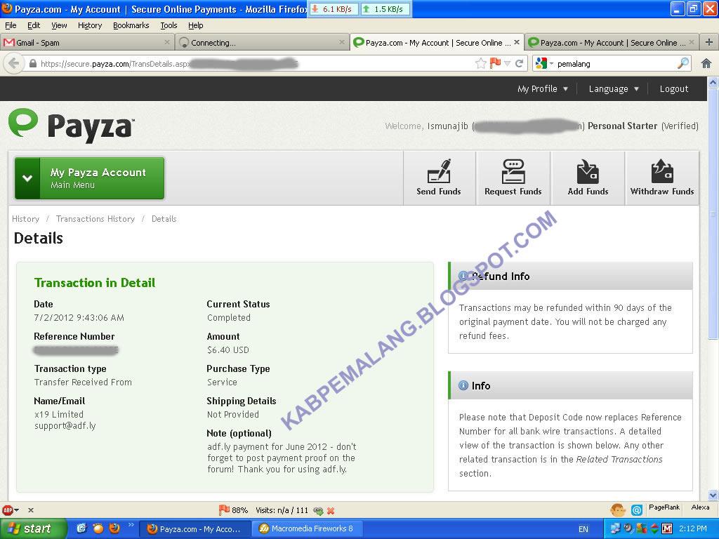 adf.ly Pembayaran tanggal  2 Juli 2012