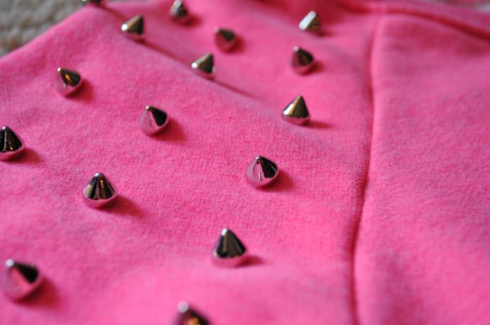 sheinside pink studded sweatshirt, studs