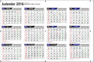 Bisa Diedit. Kalender 2016 M plus Tanggal Hijriyah 1437, plus Hari ...