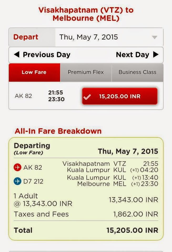 VIZAG MELBOURNE FLIGHT TICKET PRICE