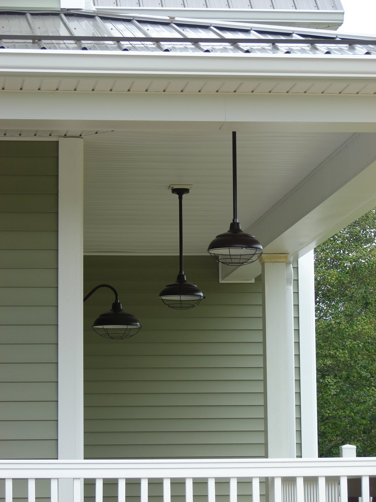Pendant lighting on front porch : Cobblestone farms we have barn lights