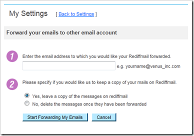 Auto Forward rediff mails for free