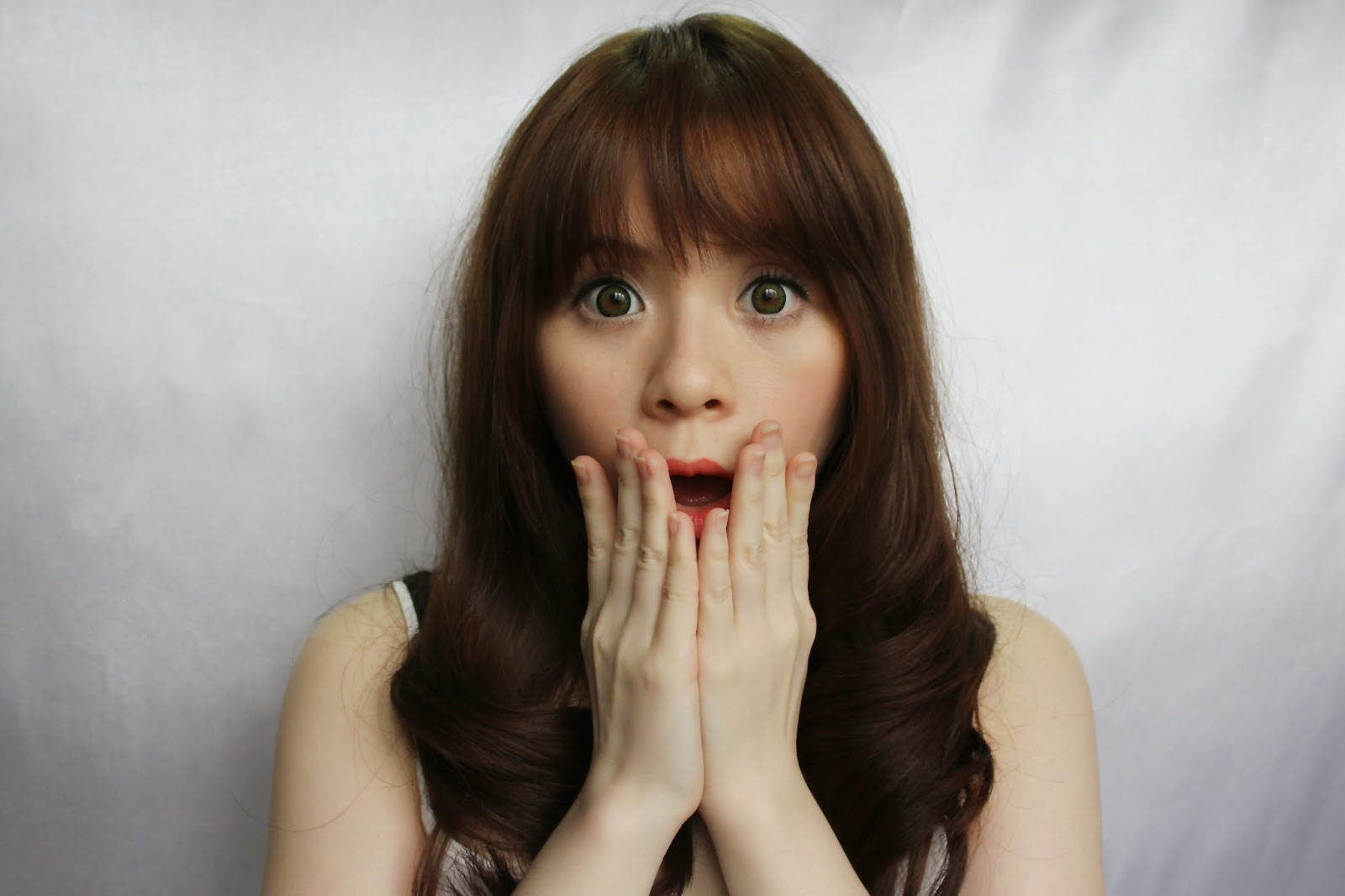 Girl with shock face expression