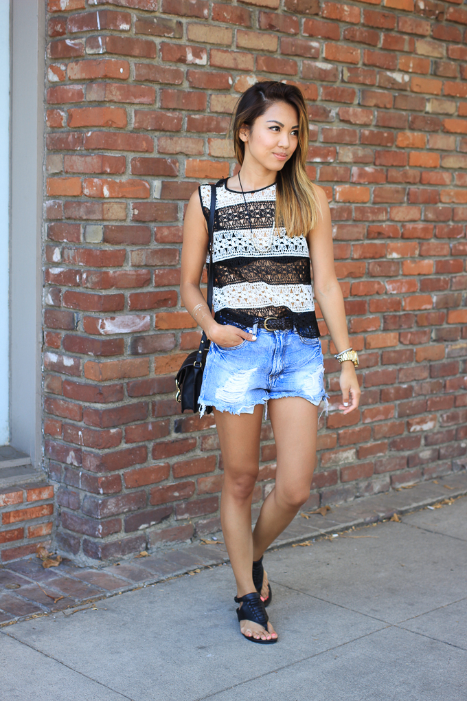 Denim cut-offs, Rebecca Minkoff Hudson Moto, Vanessa Mooney, Koolaburra Dita sandals, beautybitten
