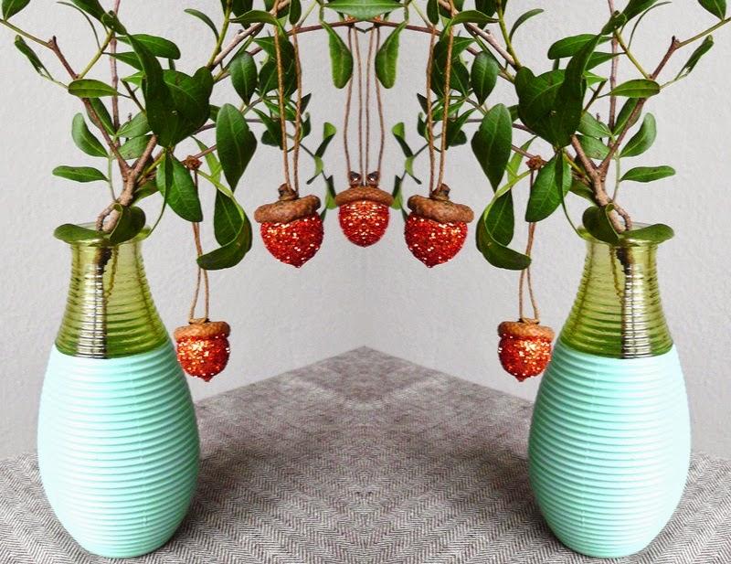 DIY Glitter Acorn Ornaments