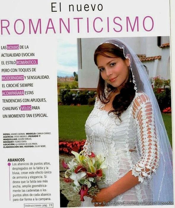 Vestido de estilo romántico para tejer con ganchillo