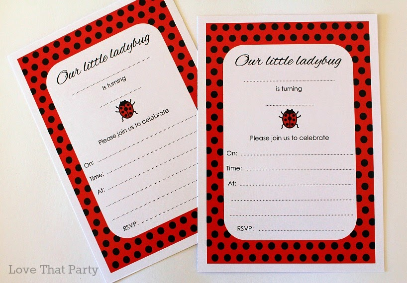 Image of kids ladybug birthday party invitations in red and black polka dots.