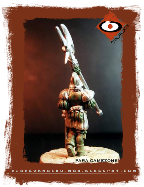 Miniatura diseñada y esculpida por ªRU-MOR para Gamezone, ejercito de los tercios del Imperio de Warhammer Fantasy. Alabardero de espaldas