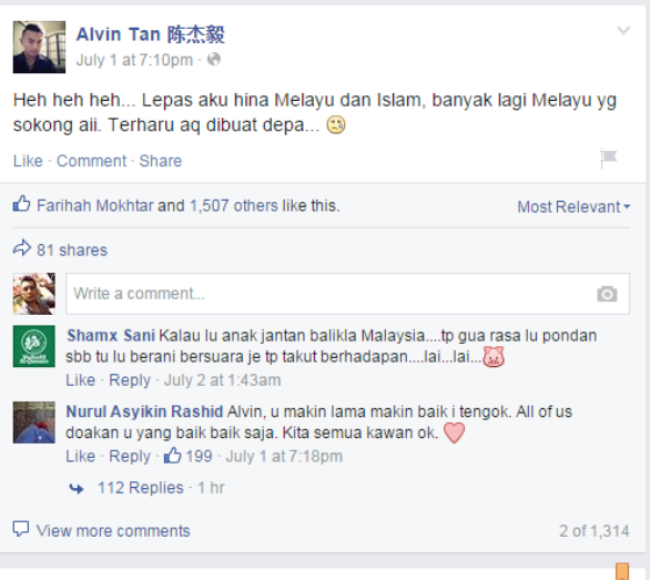 ALVIN TAN HINA BANGSA MELAYU  BANGSA INDIA, SEBAB-SEBAB TERJADINYA PERGADUHAN ANTARA KAUM DI MALAYSIA