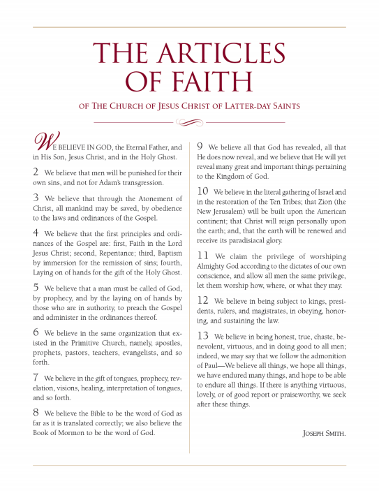 Refreshing image inside printable articles of faith