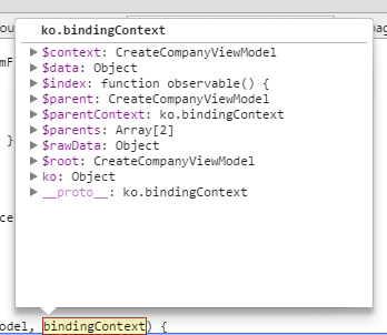 binding context for knockout custom handler