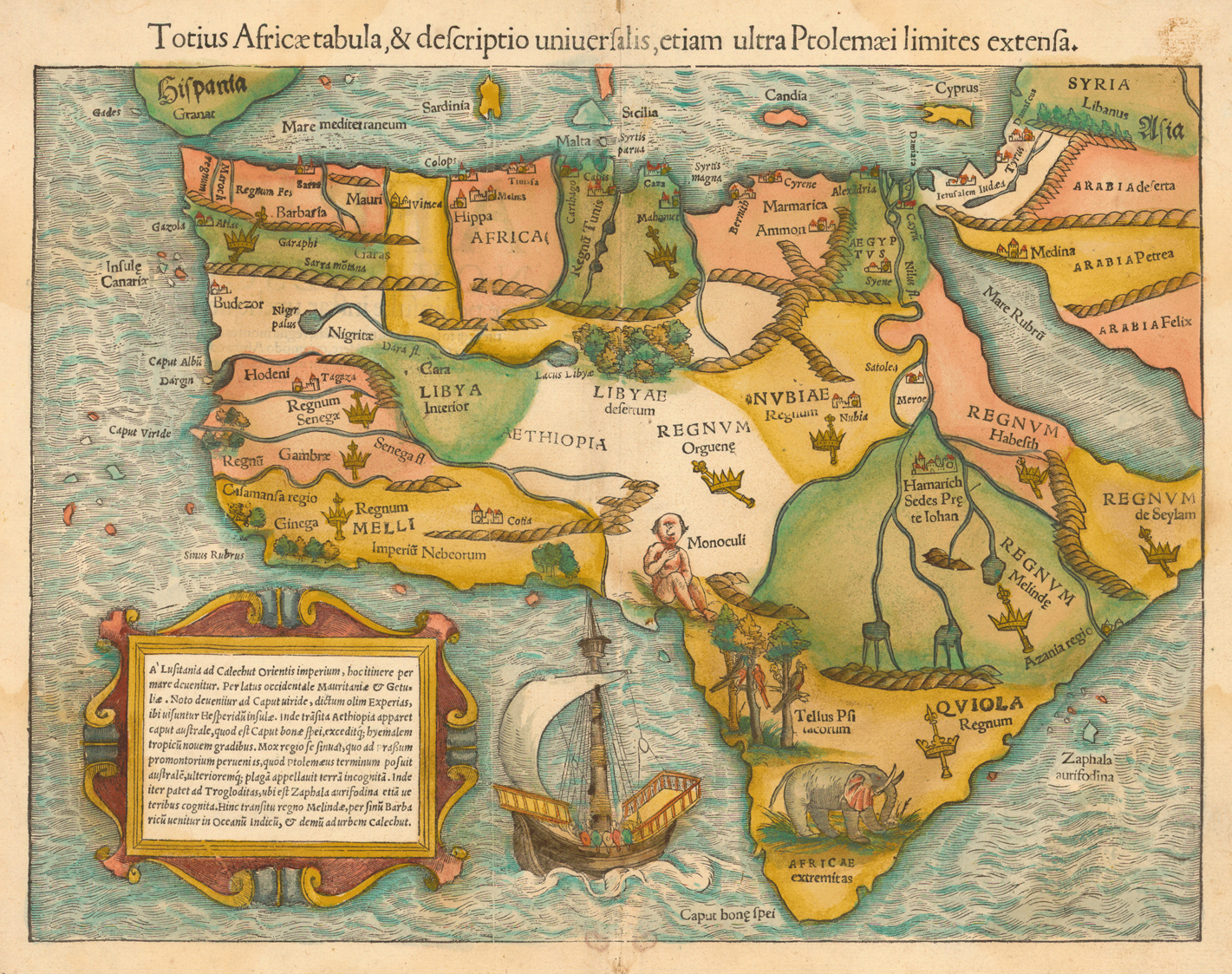 woodcut map with added color 26 x 35 cm from muenster scosmographia uniuersalis basel 1554 historic maps collection