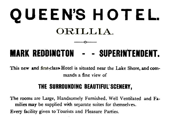 An advertisement for the Queen's hotel from an 1836 directory of Orillia.