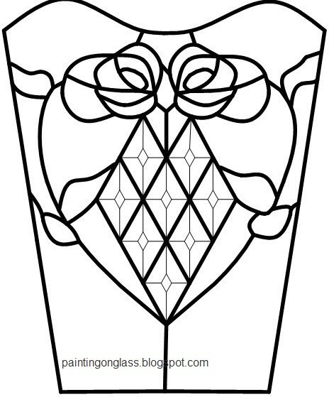 Stained Glass Wedding Vase Pattern Painting On Glass