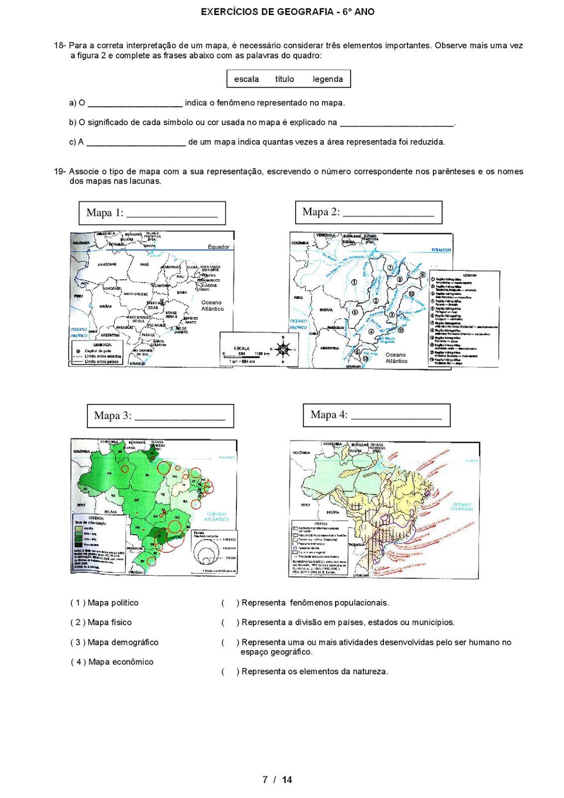 Atividade de Geografia 7o Ano Atividades Geografia 6° Ano