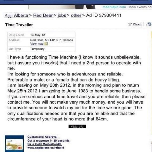 Time Machine Operator Seeks Traveller 588