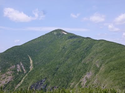 Mount Marcy and its snow bowl, viewed from Haystack.  Last remaining snow in the Adirondacks?  The Saratoga Skier and Hiker, first-hand accounts of adventures in the Adirondacks and beyond, and Gore Mountain ski blog.