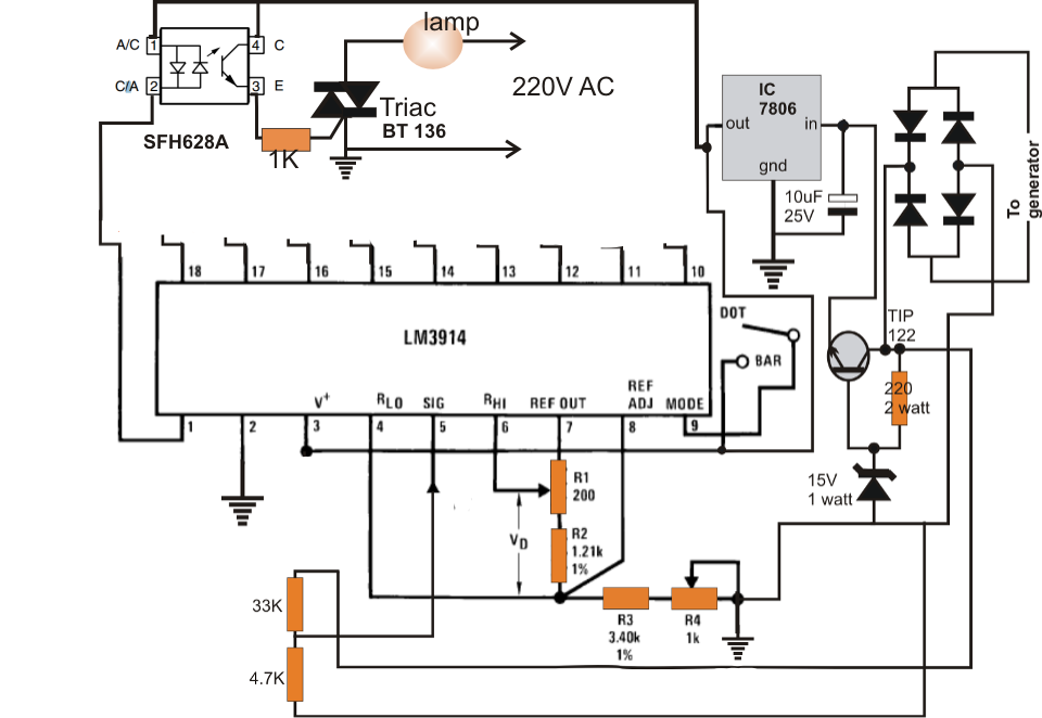 bike generator to 220v converter circuit