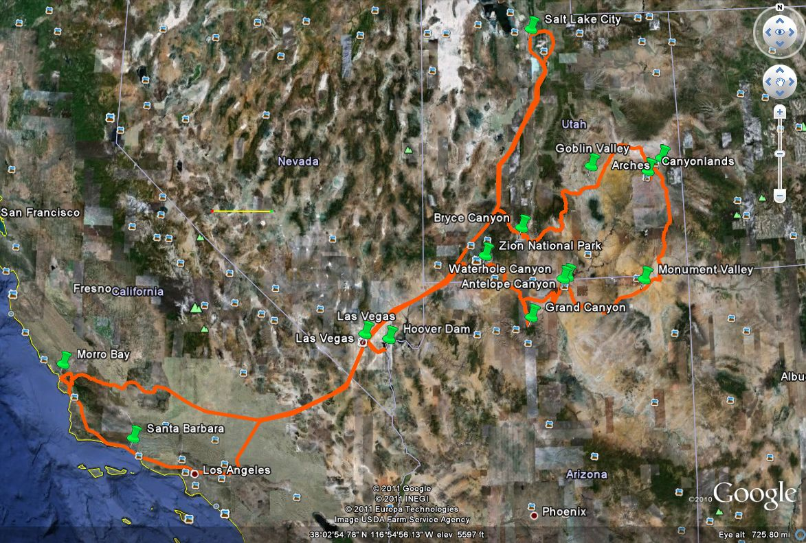 our southwest usa trip in numbers total time 20 days total distance driven more than 5400km yellow line on the image 100km