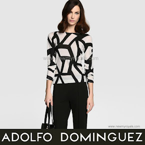 Queen Letizia Style Adolfo Dominguez Geometric Blouse