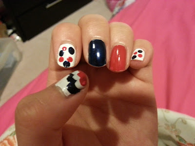 red white and blue nail polish design