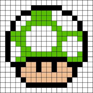 Diseño Hama Beads seta verde Mario Bros