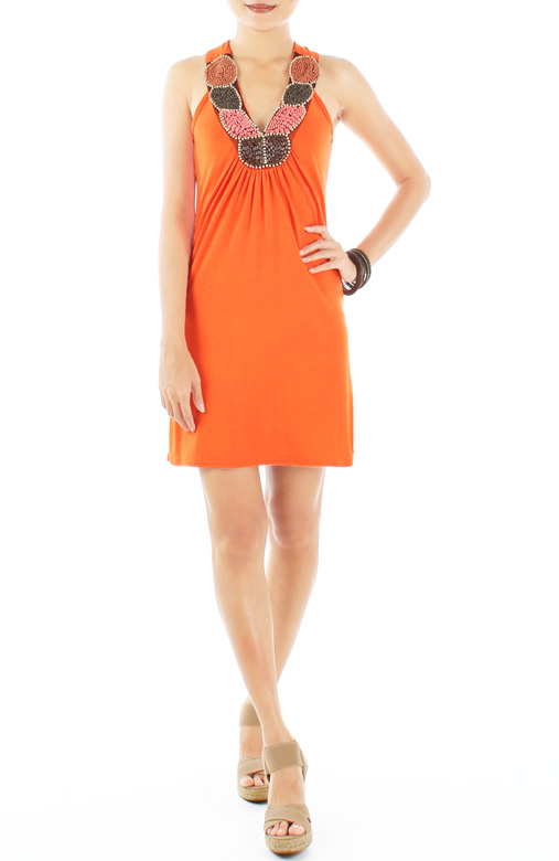 Tangerine Getaway Dress with Beaded Neckline