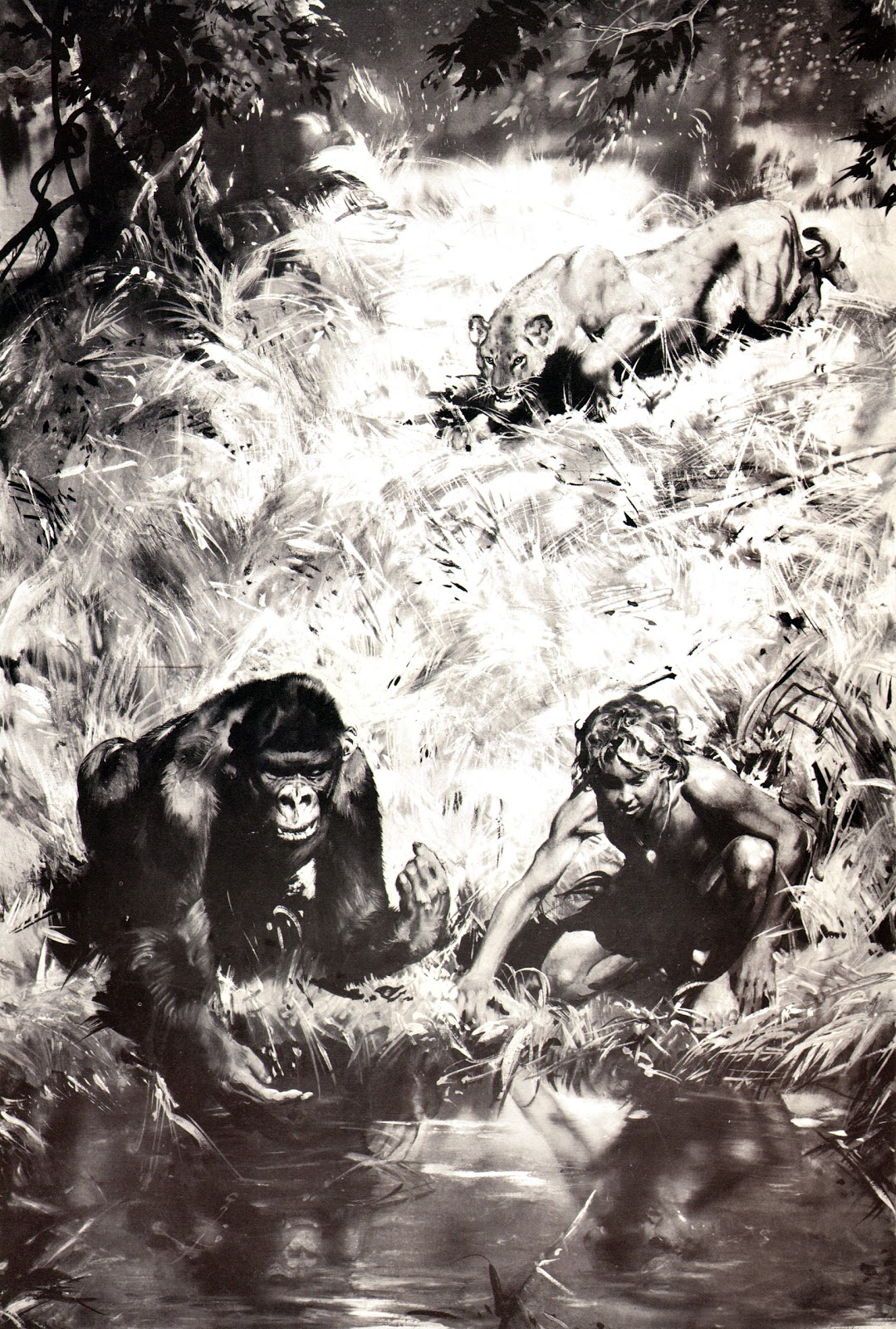 tarzan of the apes After his parents die the newborn tarzan is taken by a great ape, kala later the  boy finds his father's knife and uses it to become king of apes binns, the sailor.
