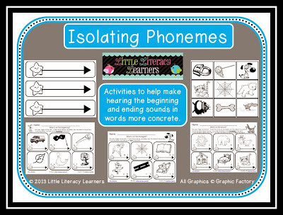 Little Literacy Learners: Phoneme Isolation-Beginning and Ending Sounds