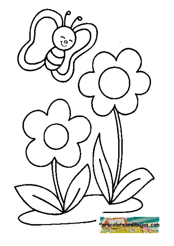 mariposa y flores para colorear