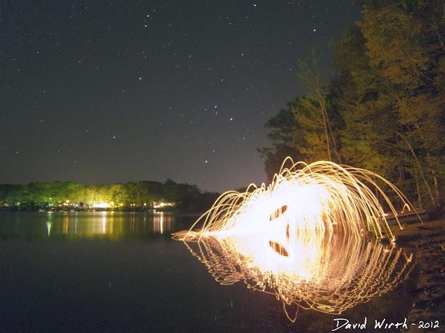 spinning wool, on the beach, lake, stars, night sky