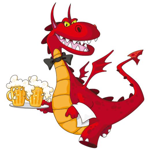 Dragón sirviendo cerveza