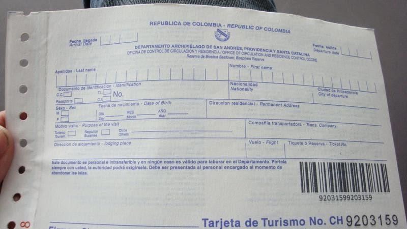 tarjeta de turismo san andres colombia