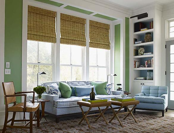 Mix and chic cool designer alert steven gambrel for Bamboo shades in living room