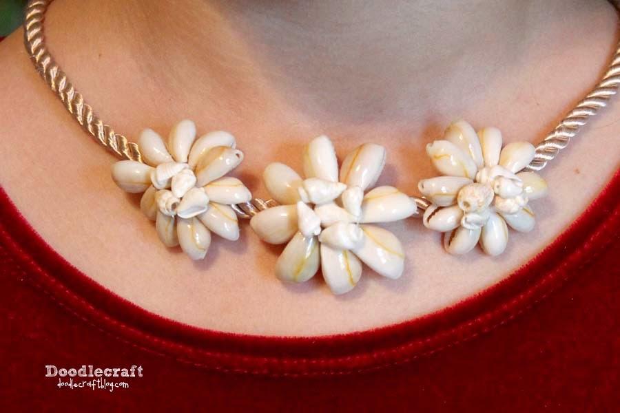 http://www.doodlecraftblog.com/2014/08/cowrie-shell-flower-jewelry-and-shoe.html
