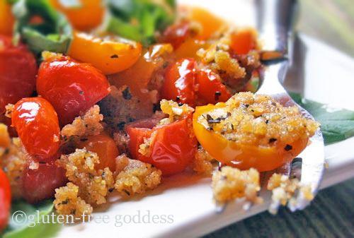 baked grape tomatoes with basil and gluten-free cornbread crumbs