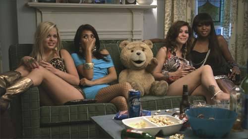 Ted on the couch with hookers