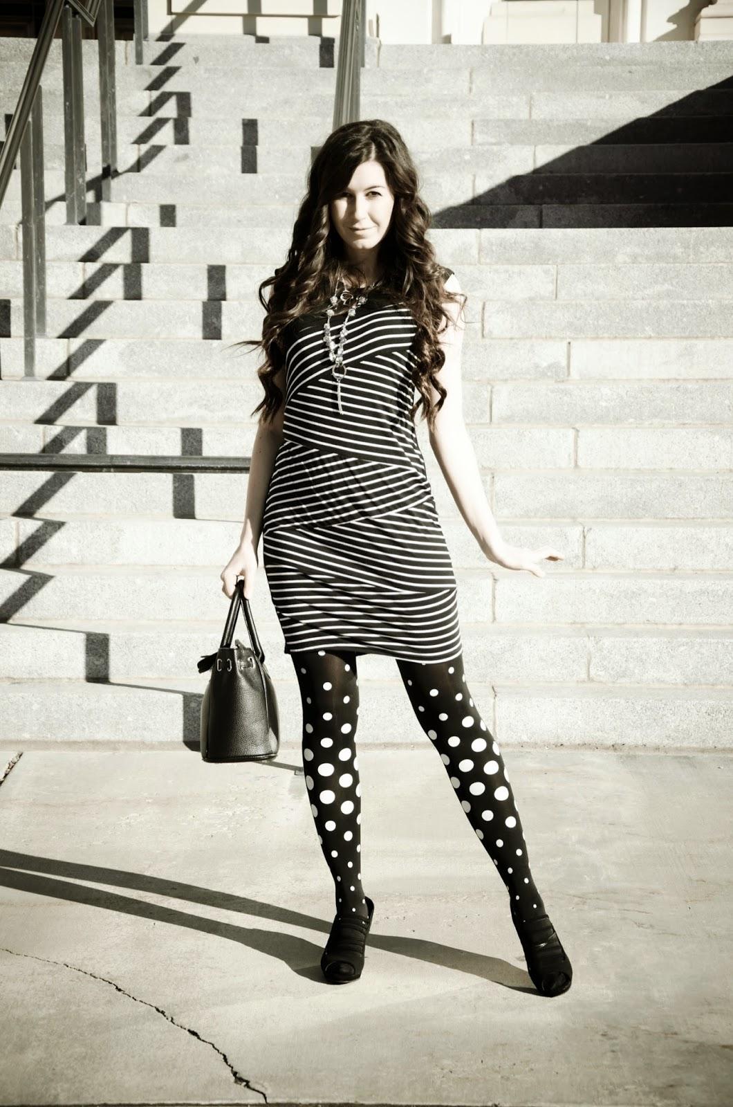 polka dots and stripes, polka dot tights, zig zag dress, black and white, black and white dress, black and white tights, striped dress with polka dot tights outfit, polka dot outfit, wedges,