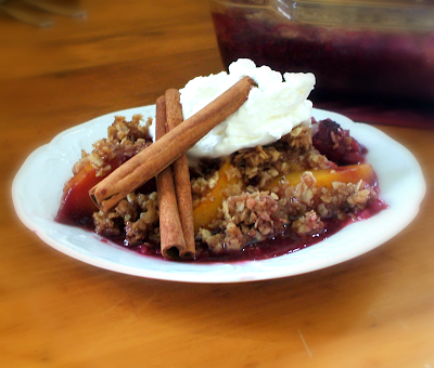 Raspberry Peach Crumble ...great for the cold evenings.