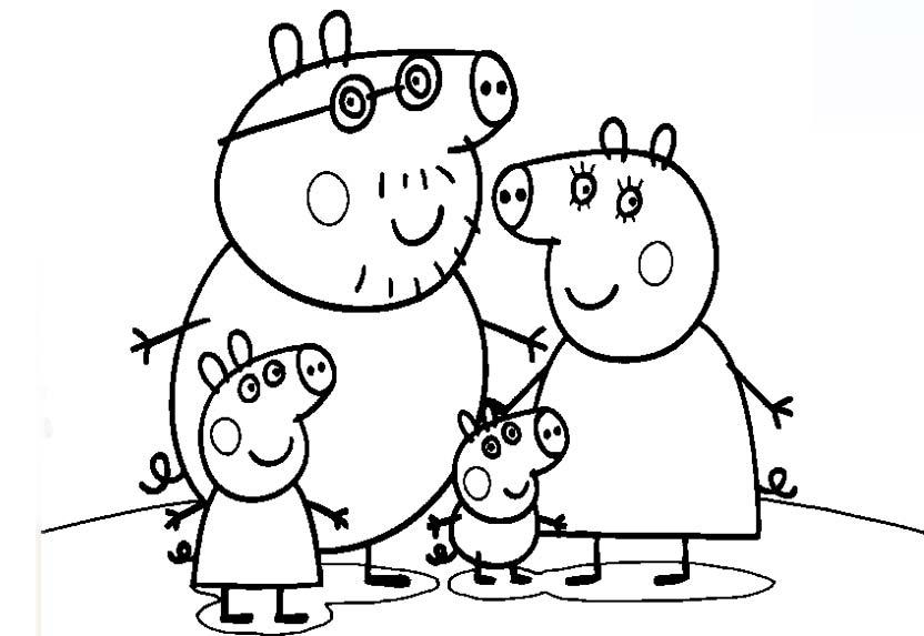 COLOREAR PEPPA PIG - COLOREAR FAMILIA DE PEPPA PIG - Dibujos para ...