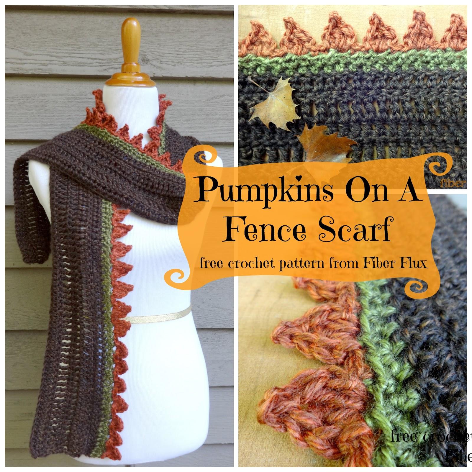 Fiber Flux: Free Crochet Pattern...Pumpkins On A Fence Scarf!