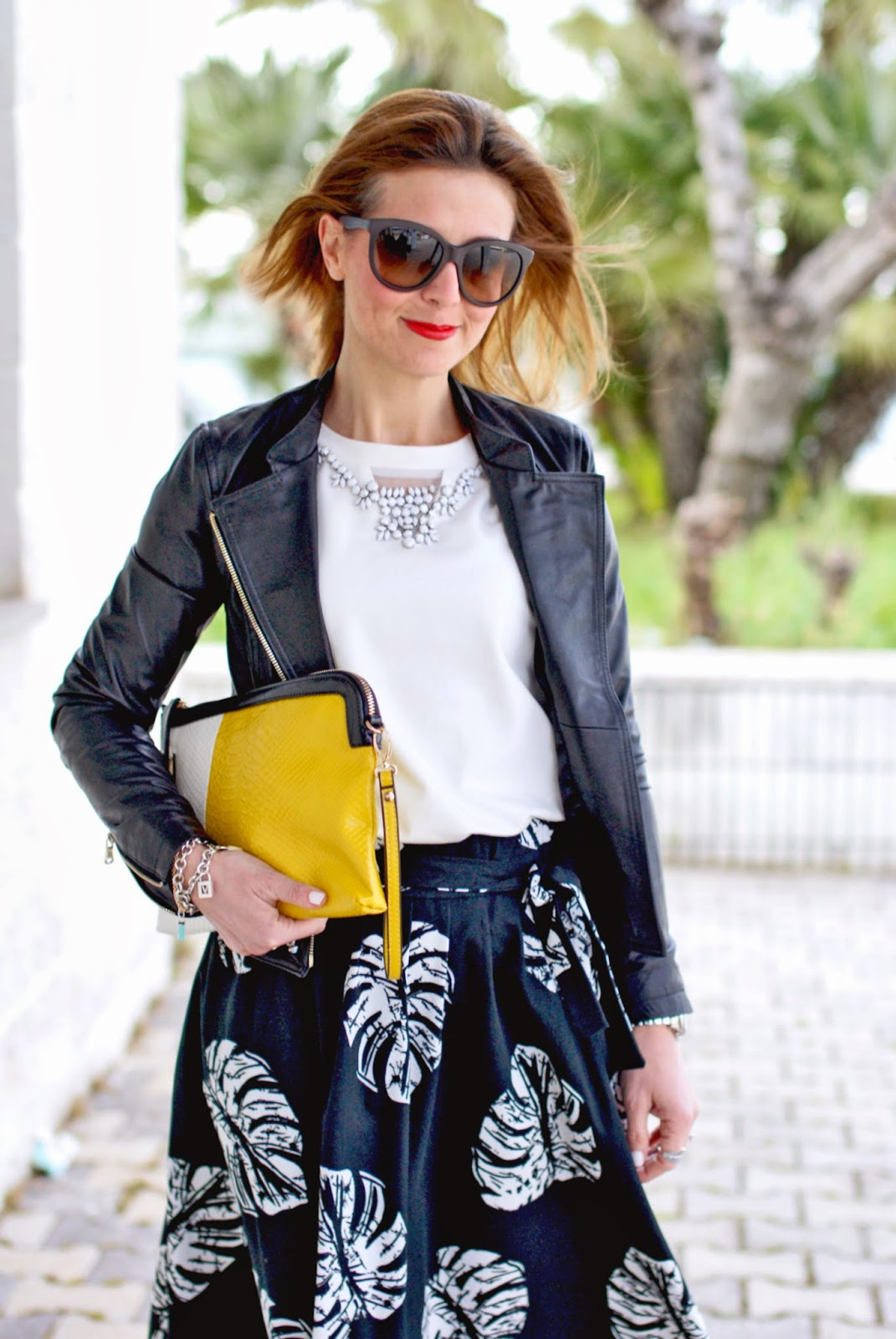 Giorgia & Johns felpa pietre e tulle, leather peplum jacket, Zara midi skirt, Fashion and Cookies, fashion blogger