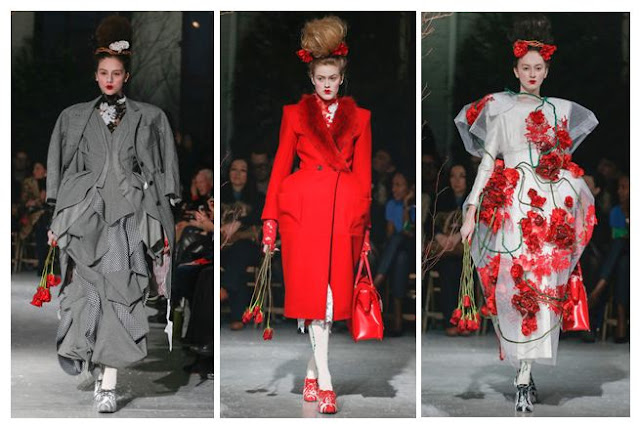 Thom Browne Fall 2013 Red Roses and Pintucks