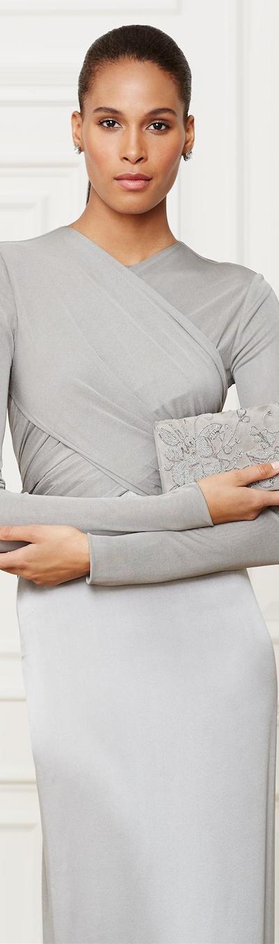 Ralph Lauren Beaded Suede Clutch Handbag