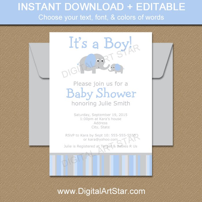 Shop: Elephant Baby Shower Invitation