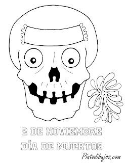 2 de noviembre para colorear | calavera  de azucar para colorear